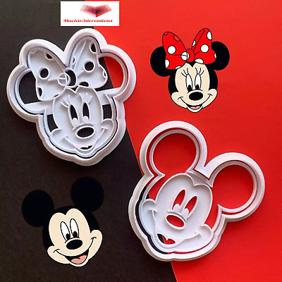 AU8.95 • Buy MICKEY AND MINNIE MOUSE Cookie Cutters Biscuit Fondant Cutter Embosser