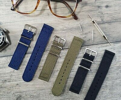 £9.95 • Buy Military Style Fabric Weave Nylon Canvas Watch Strap Bands | 18mm 20mm |