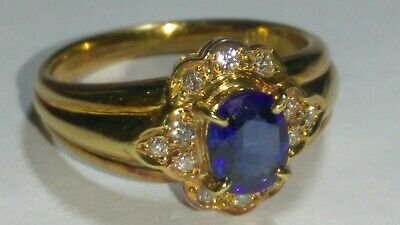 AU521.25 • Buy Solid 18k Rose Gold Natural Sapphire And Diamond Ring 4.82 Grams - Sz 5.75