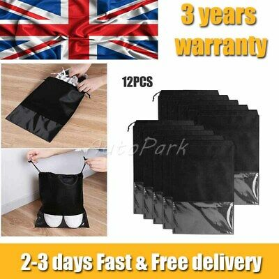 £9.99 • Buy 12x Pouch Drawstring Dust Bags Clear Non-woven Portable Shoes Bag Travel Storage