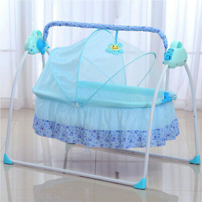 £89 • Buy Electric Baby Rocker Swing Rocking Crib Cot Bed Infant Cradle In/Outdoor Blue