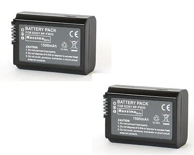 £24.99 • Buy NP-FW50 FW50 Twin Pack Compatible Camera Camcorder Battery Pack 1500mAh For Sony
