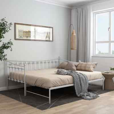 £136.99 • Buy VidaXL Pull-out Sofa Bed Frame White Metal For Day Sleeping Guest Sleepover