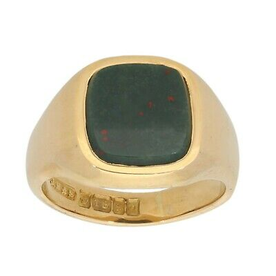 £530 • Buy 18ct Gold Ring 9.4g Signet Bloodstone Size L - Fully Hallmarked
