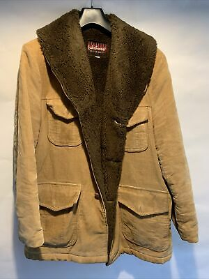 £29.99 • Buy Mens Tan Corduroy Jacket With Faux Fur Lining And Collar Size 44 <RP174
