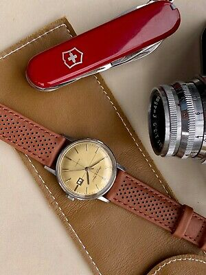 £19.99 • Buy 18mm 20mm IWC Rolex Omega Tudor Leather Watch Strap Perforated Tan Brown Leather