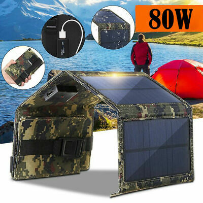 AU24.09 • Buy 80W USB Solar Panel Folding Power Bank Outdoor Hiking Camping Phone Charger AU