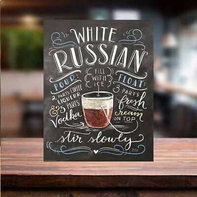 £5.13 • Buy White Russian COCKTAIL RECIPE METAL SIGN Bar Cafe Beer Garden Man Cave Home Tiki