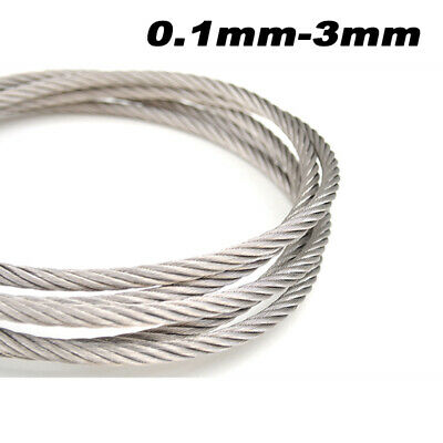£1.19 • Buy 304 Stainless Steel Wire 0.1mm - 3mm  Rope Soft And Hard Wire Rustproof Durable