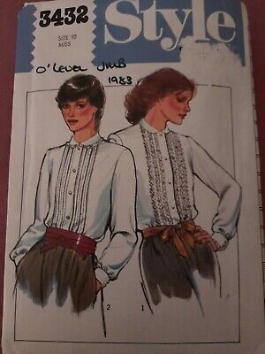 £5.79 • Buy Vintage Style 3432 Ladies Miss Blouse Sewing Pattern Size 10 Cut - Checked