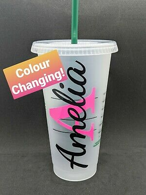 £10.99 • Buy Personalised Starbucks Tumbler Cold Cup & Straw. COLOUR CHANGING Monogram. Gifts