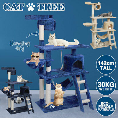 AU75 • Buy 1.42M Cat Tree Trees Scratching Post Scratcher House Furniture Wood Tower Condo