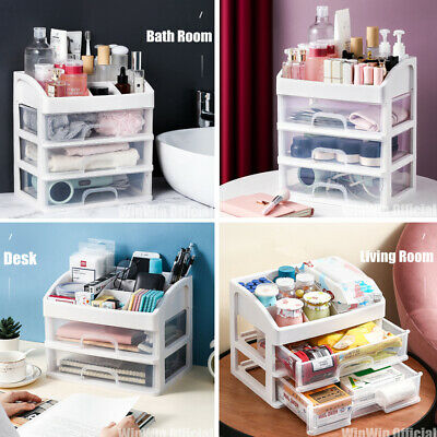 AU22.95 • Buy 3 Drawers Storage Box Desk Makeup Case Organiser Container Cosmetic Organisation