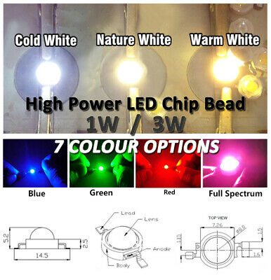 AU1.50 • Buy NEW - High Power 1W / 3W LED Chip Bead - 7 Colours Opt. (incld. Full Spectrum)