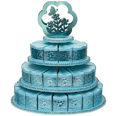 £14.99 • Buy Three Tier Blue Cake Stand With 48 Blue Cake Boxes