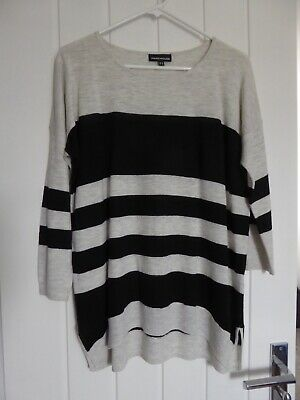 £8.99 • Buy JUMPER By WAREHOUSE, Size 12, BLACK & GREY Striped,Fine-Knit Slouchy Sweater Top