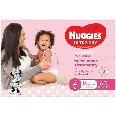 AU24 • Buy Huggies Ultra Dry Nappies Girls Size 6 (16+kg) 60 Pack
