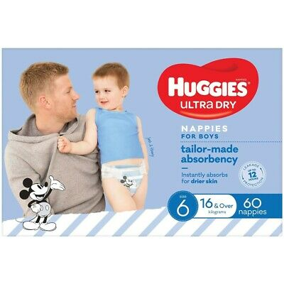 AU24 • Buy Huggies Ultra Dry Nappies Boys Size 6 (16+kg) 60 Pack