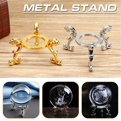 £2.39 • Buy Photography Props Crystal Ball Stand 3D Engraved Display Metal Base Home Decor