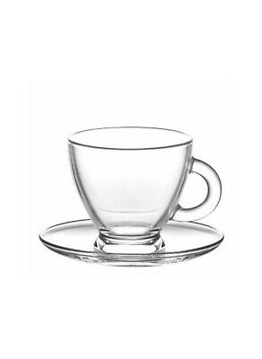 £14.50 • Buy LAV Glass Cups And Saucers Cappuccino Tea Coffee Serving Cup Set 225ml X6