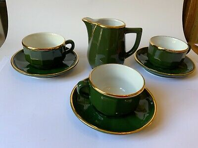 £28 • Buy APILCO Green & Gold French Porcelain Jug & 3 Espresso Coffee Cups & Saucers Vgc