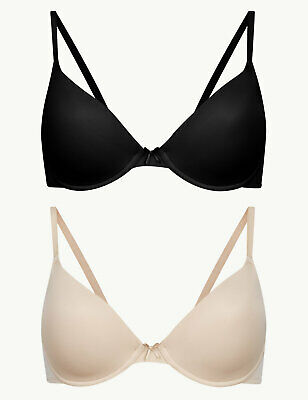£9.99 • Buy M&S COLLECTION Clearance 2 Pack Padded Plunge Bras - Black/Beige - A-D Cup