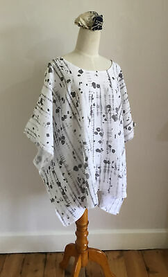 """£19.99 • Buy EDEN ROCK Linen Tunic Top White With Grey Ink Spot Print Oversized Sz L Ch56"""""""