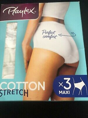 £9.99 • Buy Playtex Stretch Cotton 3 Pack Maxi Briefs. White. Size 24 UK