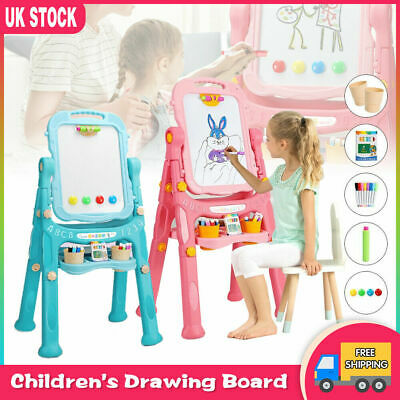 £22.99 • Buy Children Magnetic Drawing Board Easel Double Sided Folding Kids Doodle Sketchpad