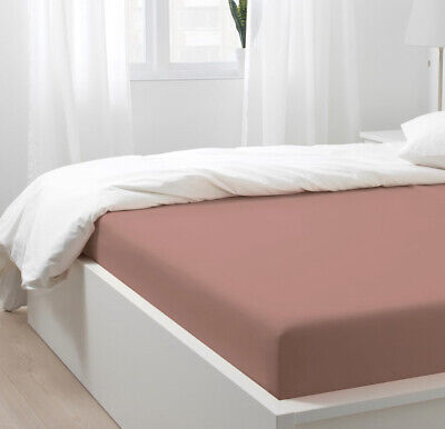 £41.99 • Buy Ikea Puderviva Dark Linen Pink Fitted Sheet KING SIZE 150x200x36cm