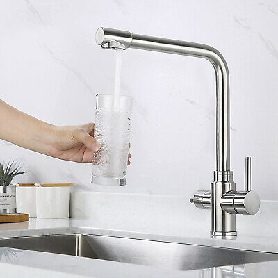 £48.99 • Buy 3 Way Kitchen Sink Tap Dual Lever Filter Drinking Water Mixer Staineless Steel