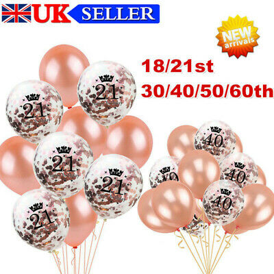 £3.19 • Buy 10X Rose Gold Happy Birthday Bunting Banner Balloons 18/21/30/40/50 Party Decor