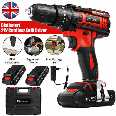 View Details 21V Cordless Drill Driver Electric Screwdriver Tool Set With 2 Lithium Batteries • 35.99£