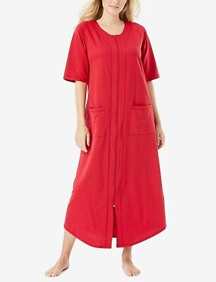 £21.70 • Buy Dreams & Co. Plus Size Classic Red Short Sleeves Long Zip-Front Robe Size 4X