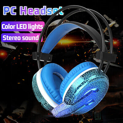 AU16.98 • Buy PC Gaming Headset Wired Stereo LED Light Bass Surround Comfortable For PC