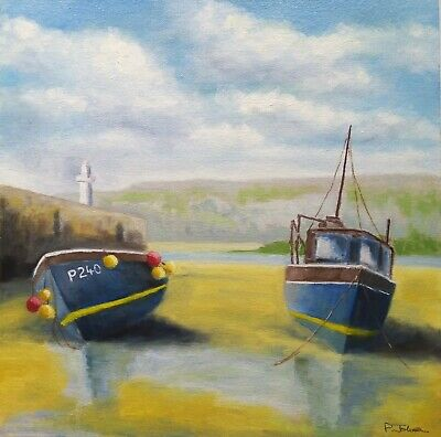 £75 • Buy Original Oil Painting By Paul Johnson. 'Fishing Boats,St.Ives Harbour Cornwall'.
