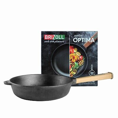 £21.99 • Buy Cast Iron Frying Pan/Skillet With Detachable Wooden Handle Induction Brizoll