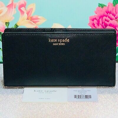 £49.99 • Buy Rrp£115 New Kate Spade Large Black Leather Bi-fold Purse/wallet - Authentic