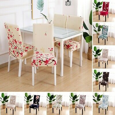 AU13.85 • Buy Dining Chair Seat Covers Slip Stretch Wedding Banquet Party  Ornament Removable