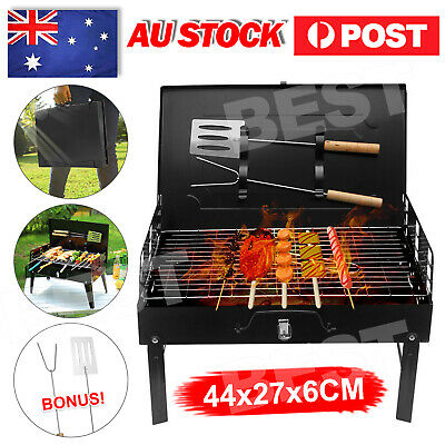 AU25.95 • Buy Charcoal BBQ Grill Hibachi Barbecue Portable Folding Steel Roast Camping Picnic