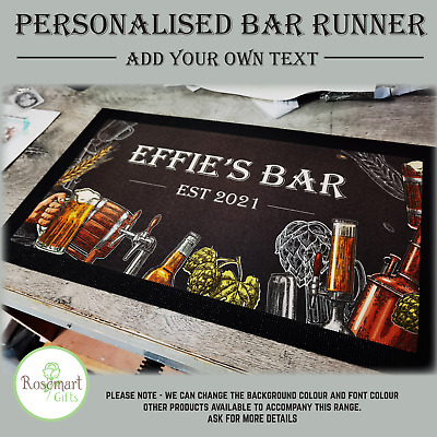 £11.75 • Buy Personalised Welcome Lager Beer Text Bar Runner Pub Club Cafe Cocktail Mat