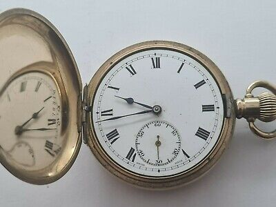 £125 • Buy Antique 1908 Swiss Made Hunter 10ct Gold Plated  Pocket Watch Needs Repair