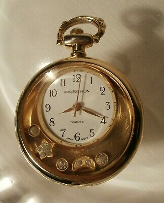 $5 • Buy Majestron Gold Tone Pocket Watch W/Moon And Star Charms - Japan Movement #96782
