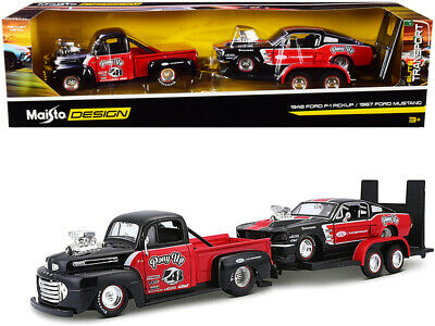 $39.99 • Buy 1948 Ford F-1 Pickup Truck #48 With 1967 Ford Mustang GT And Flatbed Trailer