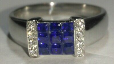 AU488.92 • Buy Solid 18k White Gold Pretty Natural Sapphire And Diamond Ring 4.75 Grams - Sz 7