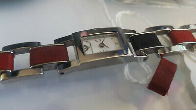 £26.98 • Buy ARMANI AR5567 Rectangle Watch RED Leather Steel Link Bracelet Pearl Dial Scarce