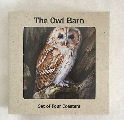 £4.50 • Buy BNIB The Owl Barn Set Of Four Different Cork Back Coasters