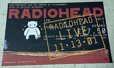 """$24.95 • Buy Radiohead POSTER Live 11/13/01 Street Date Oxford Concert July 7, 2001 11"""" X 17"""""""