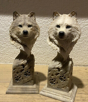 $50 • Buy Lot Of 2 Set Mill Creek Studios Inc. Wolf Statue  Arctic Wolf 38240, Scout 38230