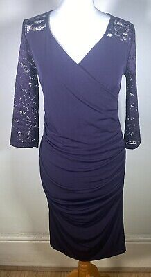 £15 • Buy Purple Kaliko  Deep Lavender Lace Occasion Dress Size 10 Fitted Wedding Guest